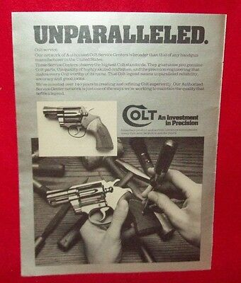 "Colt ""an Investment In Precision"" Printed Ad From Shooting Times Apr 1978"