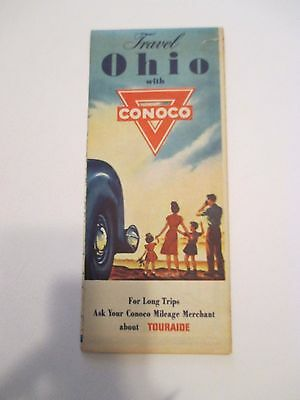 Vintage 1940's CONOCO Travel OHIO Oil Gas Service Station Road Map