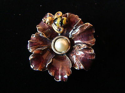 Lia Sophia flower bumble bee pin brooch signed LIA jewelry