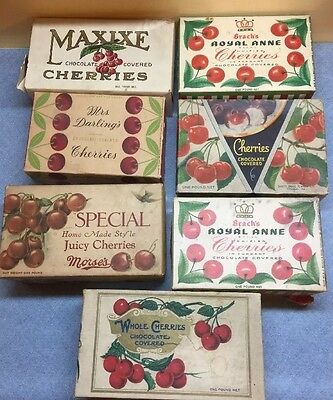 Lot 7 VINTAGE BRACH'S ROYAL ANNE, maxine, Morses, sisco bros CHOCOLATE CHERRIES