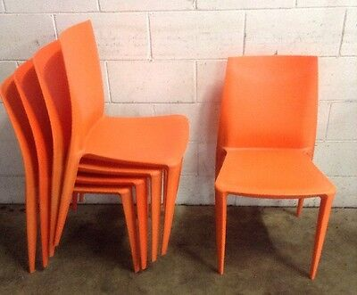 Commercial Cafe Restaurant Moulded One Piece Stackable Resin Orange Chairs