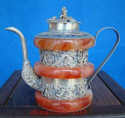 Antique Collectible Handmade Carving Silver & Jade Inlaid Teapot Dragon Art Deco