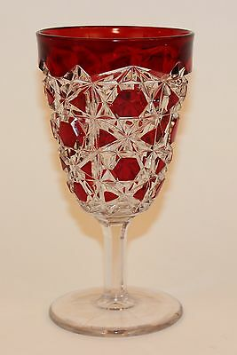 Eapg Ruby Stained Block & Lattice Tall Goblet Ca. 1892