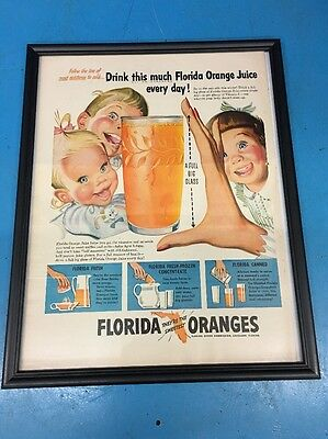 "Vintage 15"" x 12"" Florida Oranges Juice Framed Advertisement EAZ6"