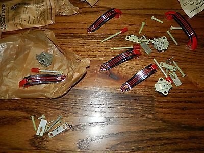Vintage Retro Chrome Red Deco Cabinet Hardware Lot NOS!!!