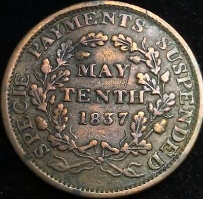 1837 US Large Cent Hard Times Token -Phoenix May Tenth Rare Coin