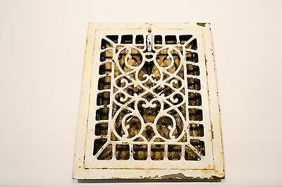 "Vintage Ornate Cast Iron Wall Grate Heat Register Industrial Vent 12"" x 10"""