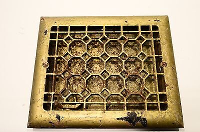 "Vintage Ornate Cast Iron Wall Grate Heat Register Industrial Vent 11.5"" x 9.75"""