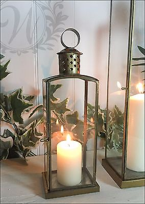 Tea Light Lantern Holder Candle Style Antique Vintage Gold Brass Glass Copper