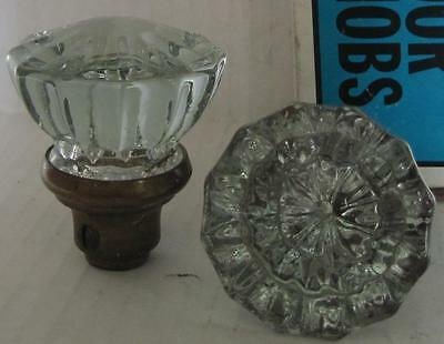 Lot of 2 Vintage Crystal Glass Door Knobs Pair         #