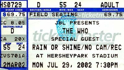 The Who Robert Plant concert ticket stub Hersheypark Stadium July 29 2002