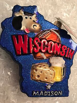 """Old World Christmas  """"On Wisconsin!"""" Ornament-GLASS"""