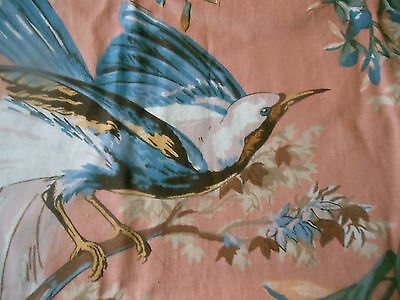 Vintage French Bird Foliage Floral Furnishings Fabric ~ Apricot Brown Blue
