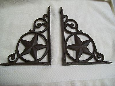 "Set of 2 Cast Iron Star Shelf Brackets 9"" x 7"""