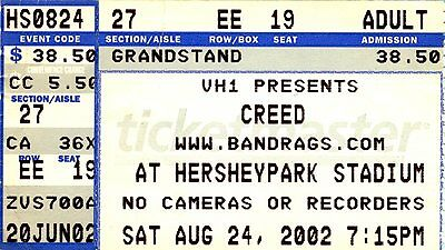 Creed Jerry Cantrell concert ticket stub Hersheypark Stadium August 24 2002