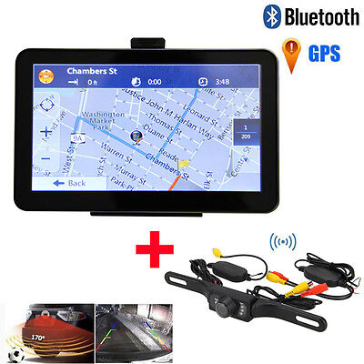 "7"" Wireless Car GPS Navigation 8GB Backup Rear View Camera 7LED Bluetooth AV-IN"