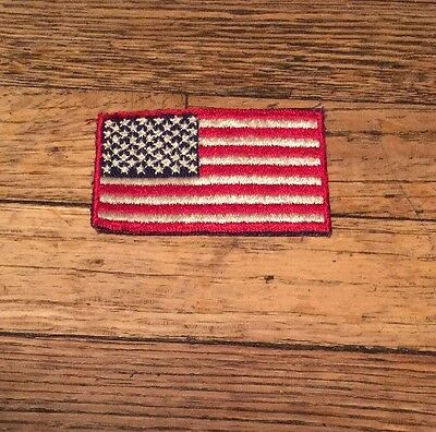 AMERICAN FLAG w/ RED BORDER-USA Iron On/ Sew On Embroidered Appliqué Patch