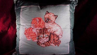 3 DECORATIVE PILLOWS with 3 CATS   HANDMADE