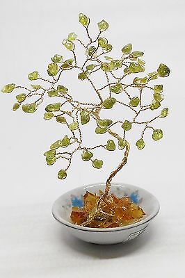5.75 inch---'Bonzai' PERIDOT Gem tree on an Oriental, Ceramic vase.
