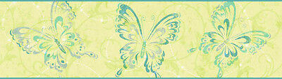 York Candice Olson (green/teal) Butterfly Wallpaper Border - CK7610B