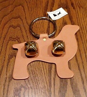 Handmade Amish Decorative Tan Dog Leather Door Bell Hanger