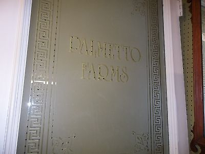 "Antique Victorian Door 88 1/2""T 35 1/2""W Frosted Glass Greek Key PALMETTO FARMS"