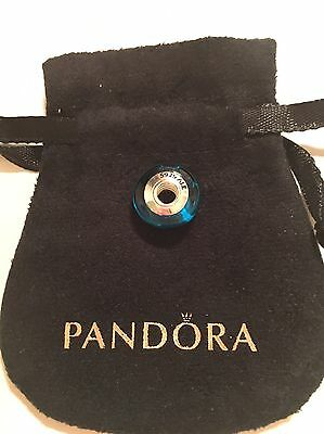 Pandora Blue And Black Murano Glass Charm