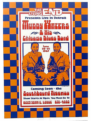 Muddy Waters at The Living End Detroit 1967 Poster Art by Dennis Loren