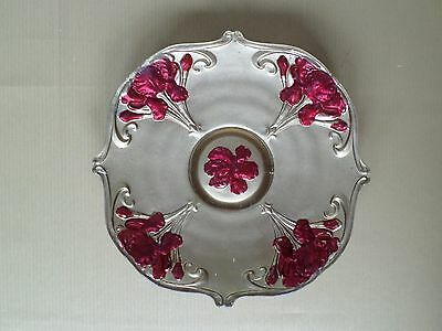 Vintage GOOFUS Glass PLATE Gold and Red Flowers