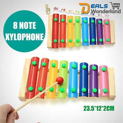 Musical Instrument 8 Note Xylophone Wooden Early Educational Toy Gift Xmas Kids