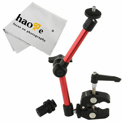 "11"" inch Articulating Friction Magic Arm + Mini Clamp for Camera Video Red"
