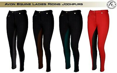 Horse Riding  Ladies Soft Jodhpurs Jodphurs Jods Black /red With Red Loop