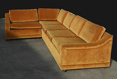 Vintage Mid Century Modern Gold Orange SOFA Couch L Shaped Sectional