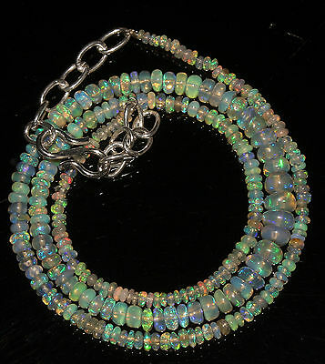 """30 Carat 16"""" 2 to 6 mm Natural Ethiopian Welo Fire Opal Beads Necklace  --1014"""