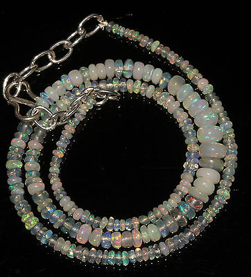 """34 Carat 16"""" 2 to 6 mm Natural Ethiopian Welo Fire Opal Beads Necklace  --1012"""