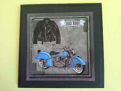 Bad Boy ~Motorbike and leather jacket ~birthday~greeting Handmade card