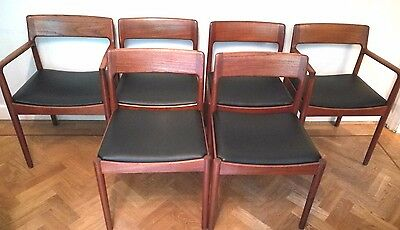 six vintage Danish mid 20th century modern Norgaards mobelfabrik dining chairs