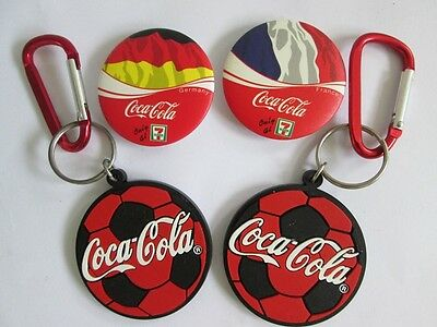 LOT 4 pcs 7 Eleven COCA COLA COKE Football Keychain & Country Flag Buttons Pin