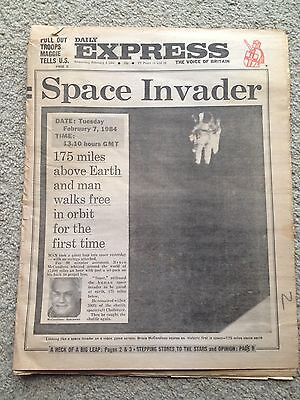 Daily Express newspaper 8th February 1984. Space walk. WHOLE