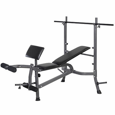 Weight Lifting Bench Fitness Body Workout Home Exercise w/Bar