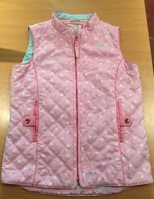 JOULES Girls Padded Pink Star Gilet Body Warmer Age 11-12