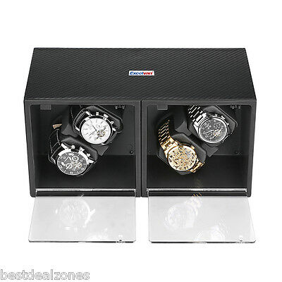 New 4+4 Watch Winder Storage Display Automatic Rotation Leather Box Case Gift UK