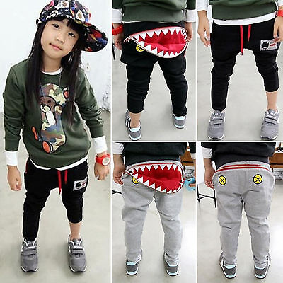Toddler Kids Girls Boys Harem Pants Monster Mouth Long Bottoms Trousers Clothes