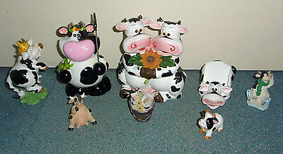 Magnifique Lot 8 Vaches 2 Tirelires Support Portable Figurines En Tres Bon Etat