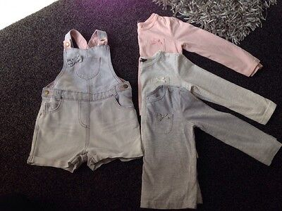 Girls Short Dungarees With 3 Matching Tops 3-4 Yrs