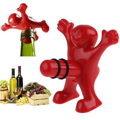 10Pcs New Novelty Happy Man Red Wine Bottle Stopper Plug Bar Kitchen Tools Gifts