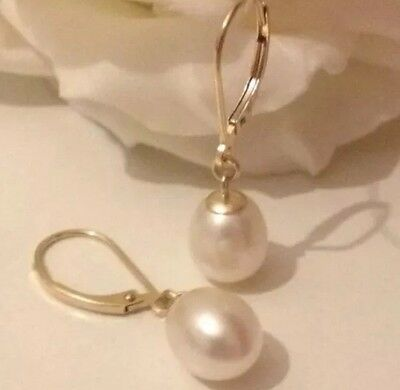 9ct Yellow Gold Freshwater Pearl Leverback Earrings