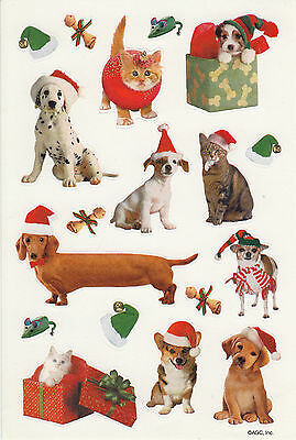 Vintage AGC Holiday Christmas Adorable Dogs Cats in Santa Hats Sticker Sheet
