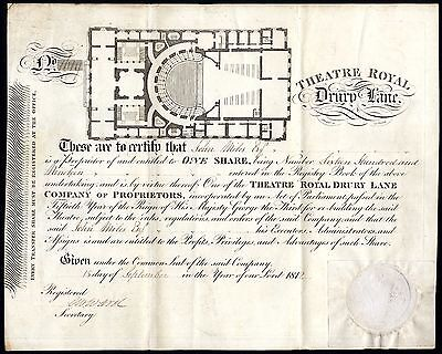 Theatre Royal, Drury Lane, one share, 1812, superb plan of the theatre