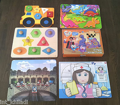 6 Toddler Kids Jig Saw Puzzles - Wooden & Magnetic